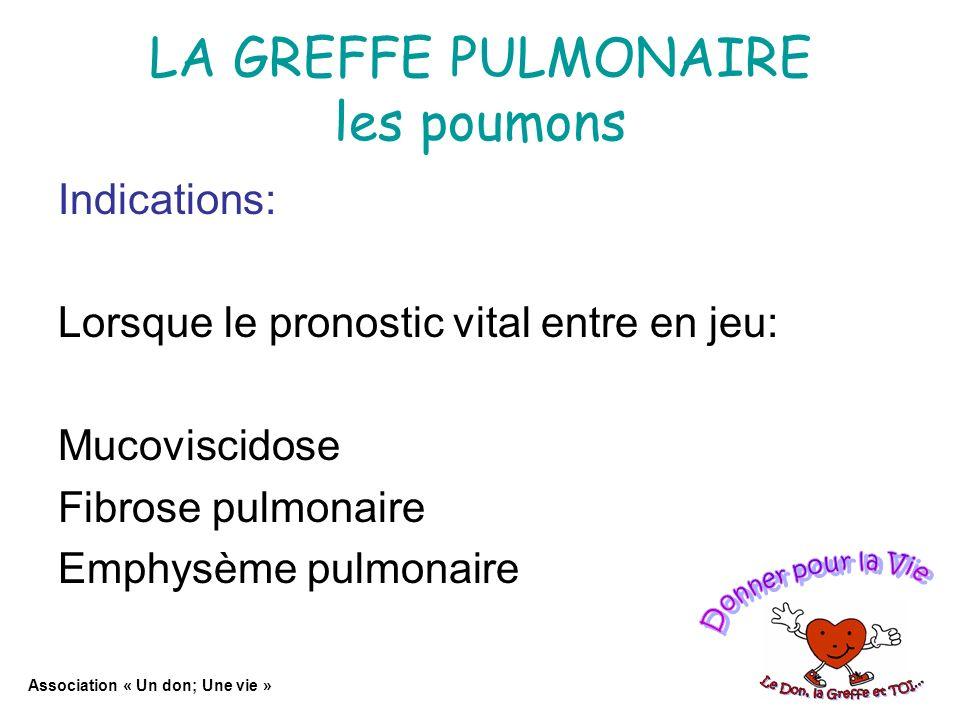 LA GREFFE PULMONAIRE les poumons Indications: Lorsque le pronostic vital entre en jeu: Mucoviscidose Fibrose pulmonaire Emphysème pulmonaire Association « Un don; Une vie »