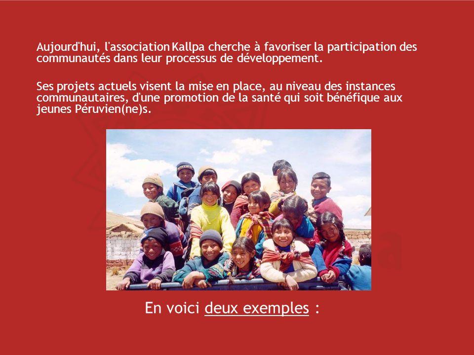 Aujourd hui, l association Kallpa cherche à favoriser la participation des communautés dans leur processus de développement.