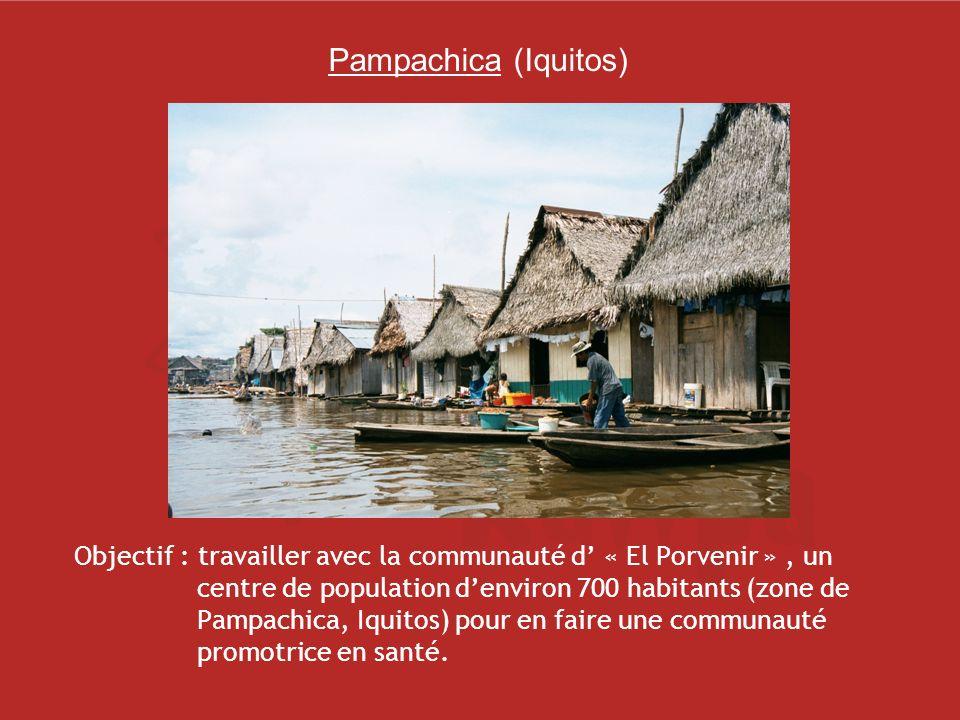 Pampachica (Iquitos) Objectif : travailler avec la communauté d « El Porvenir », un centre de population denviron 700 habitants (zone de Pampachica, Iquitos) pour en faire une communauté promotrice en santé.