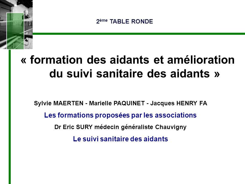 « formation des aidants et amélioration du suivi sanitaire des aidants » Sylvie MAERTEN - Marielle PAQUINET - Jacques HENRY FA Les formations proposée