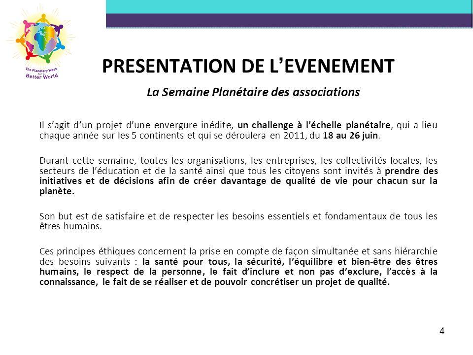 PRESENTATION DE L EVENEMENT La Semaine Planétaire des associations Il sagit dun projet dune envergure inédite, un challenge à léchelle planétaire, qui a lieu chaque année sur les 5 continents et qui se déroulera en 2011, du 18 au 26 juin.