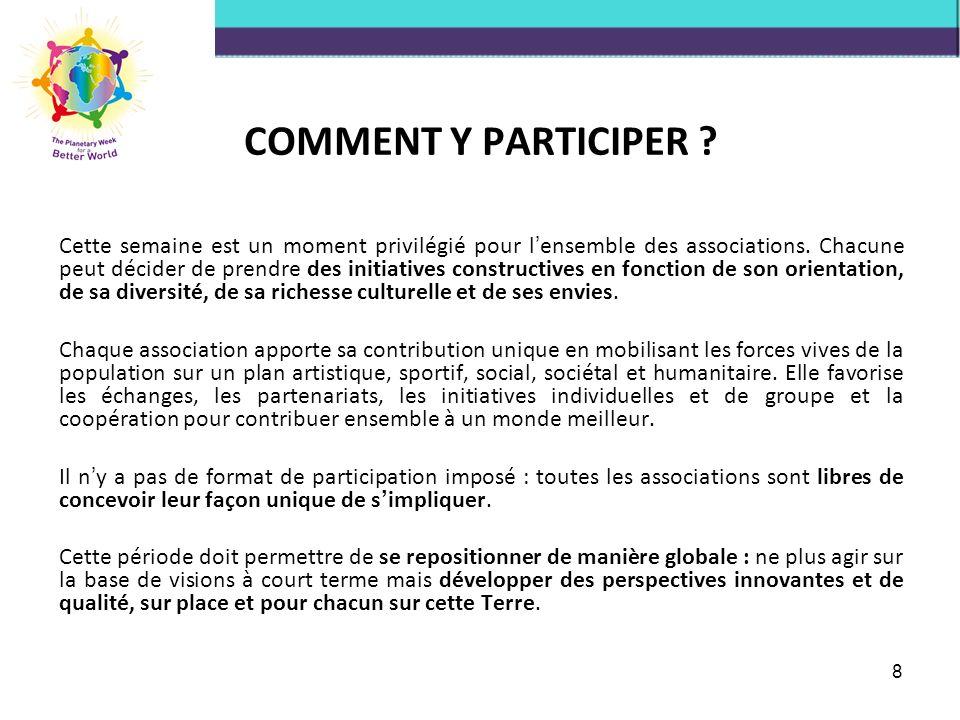 VOTRE CONTRIBUTION CONCRETE Vous pouvez contribuer de différentes manières à la Semaine Planétaire des Associations.