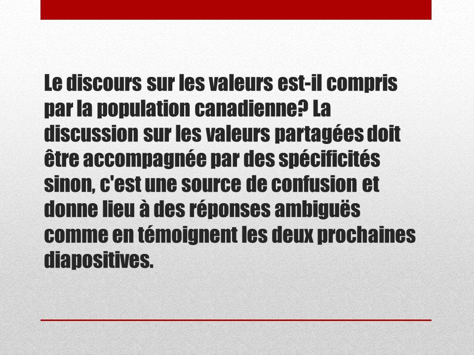 Le discours sur les valeurs est-il compris par la population canadienne.