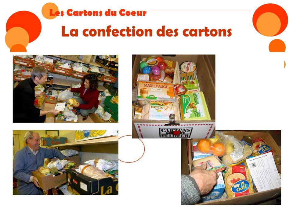 La confection des cartons Les Cartons du Coeur