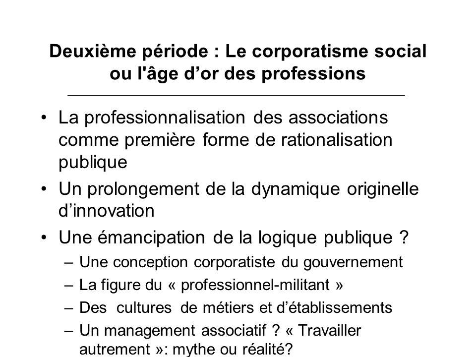 Deuxième période : Le corporatisme social ou l'âge dor des professions La professionnalisation des associations comme première forme de rationalisatio