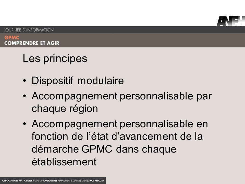 Les principes Dispositif modulaire Accompagnement personnalisable par chaque région Accompagnement personnalisable en fonction de létat davancement de