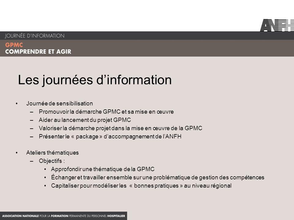 Les journées dinformation Journée de sensibilisation –Promouvoir la démarche GPMC et sa mise en œuvre –Aider au lancement du projet GPMC –Valoriser la
