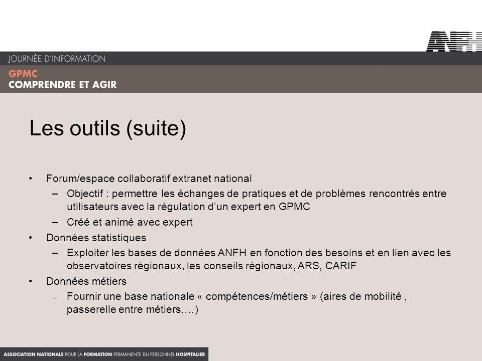 Les outils (suite) Forum/espace collaboratif extranet national –Objectif : permettre les échanges de pratiques et de problèmes rencontrés entre utilis