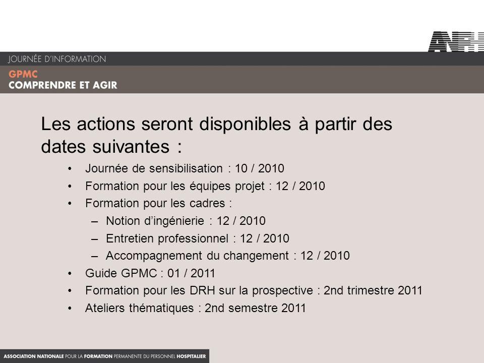 Les actions seront disponibles à partir des dates suivantes : Journée de sensibilisation : 10 / 2010 Formation pour les équipes projet : 12 / 2010 For