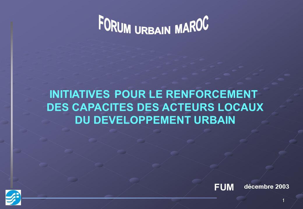 1 décembre 2003 INITIATIVES POUR LE RENFORCEMENT DES CAPACITES DES ACTEURS LOCAUX DU DEVELOPPEMENT URBAIN FUM