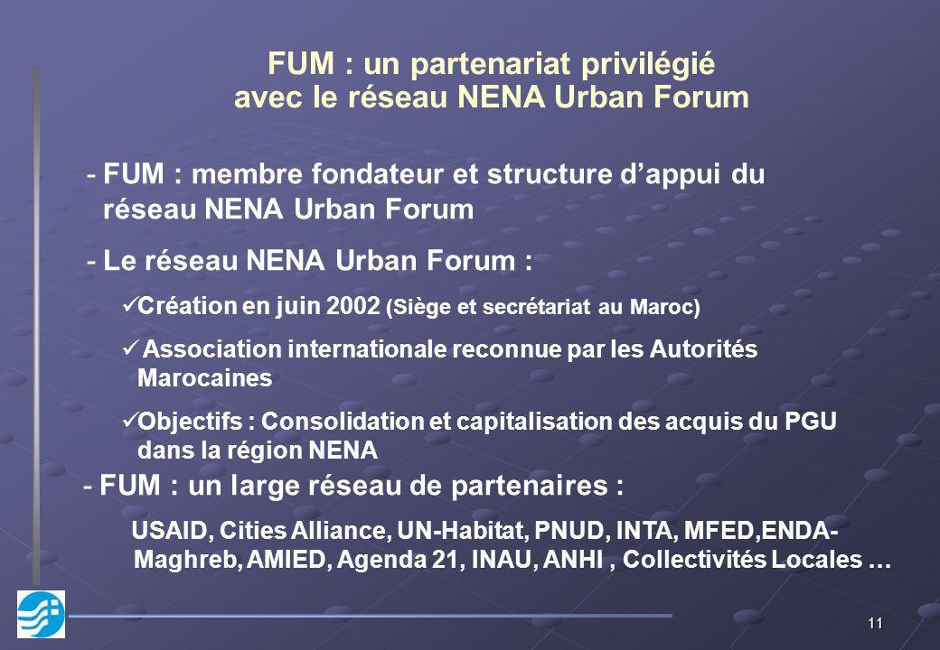 11 FUM : un partenariat privilégié avec le réseau NENA Urban Forum -FUM : membre fondateur et structure dappui du réseau NENA Urban Forum -Le réseau NENA Urban Forum : Création en juin 2002 (Siège et secrétariat au Maroc) Association internationale reconnue par les Autorités Marocaines Objectifs : Consolidation et capitalisation des acquis du PGU dans la région NENA -FUM : un large réseau de partenaires : USAID, Cities Alliance, UN-Habitat, PNUD, INTA, MFED,ENDA- Maghreb, AMIED, Agenda 21, INAU, ANHI, Collectivités Locales …