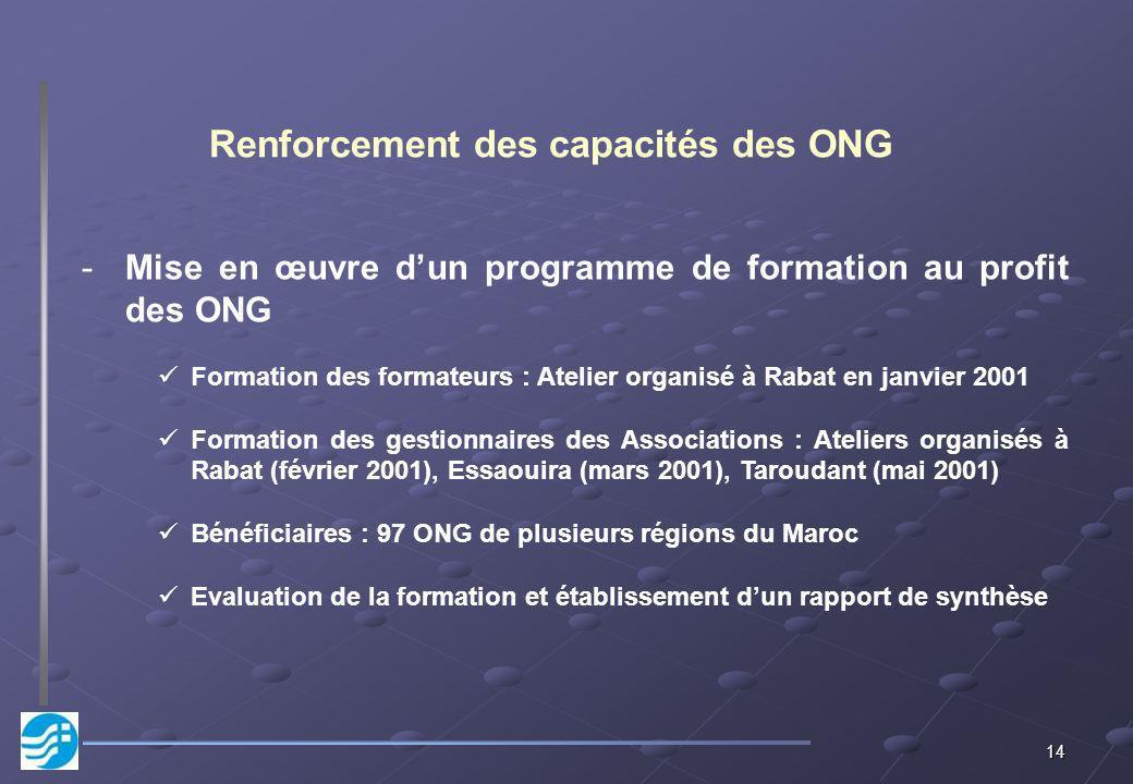 14 Renforcement des capacités des ONG -Mise en œuvre dun programme de formation au profit des ONG Formation des formateurs : Atelier organisé à Rabat