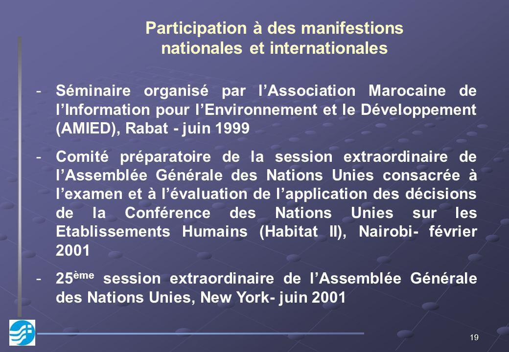19 Participation à des manifestions nationales et internationales -Séminaire organisé par lAssociation Marocaine de lInformation pour lEnvironnement e