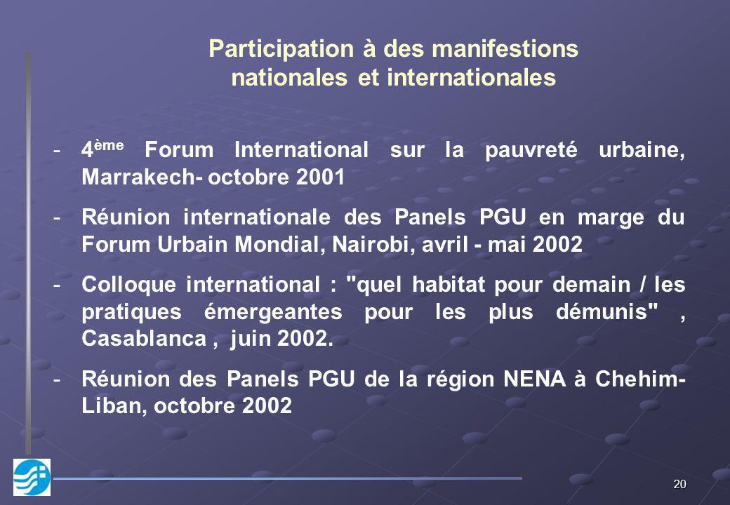 20 -4 ème Forum International sur la pauvreté urbaine, Marrakech- octobre 2001 -Réunion internationale des Panels PGU en marge du Forum Urbain Mondial