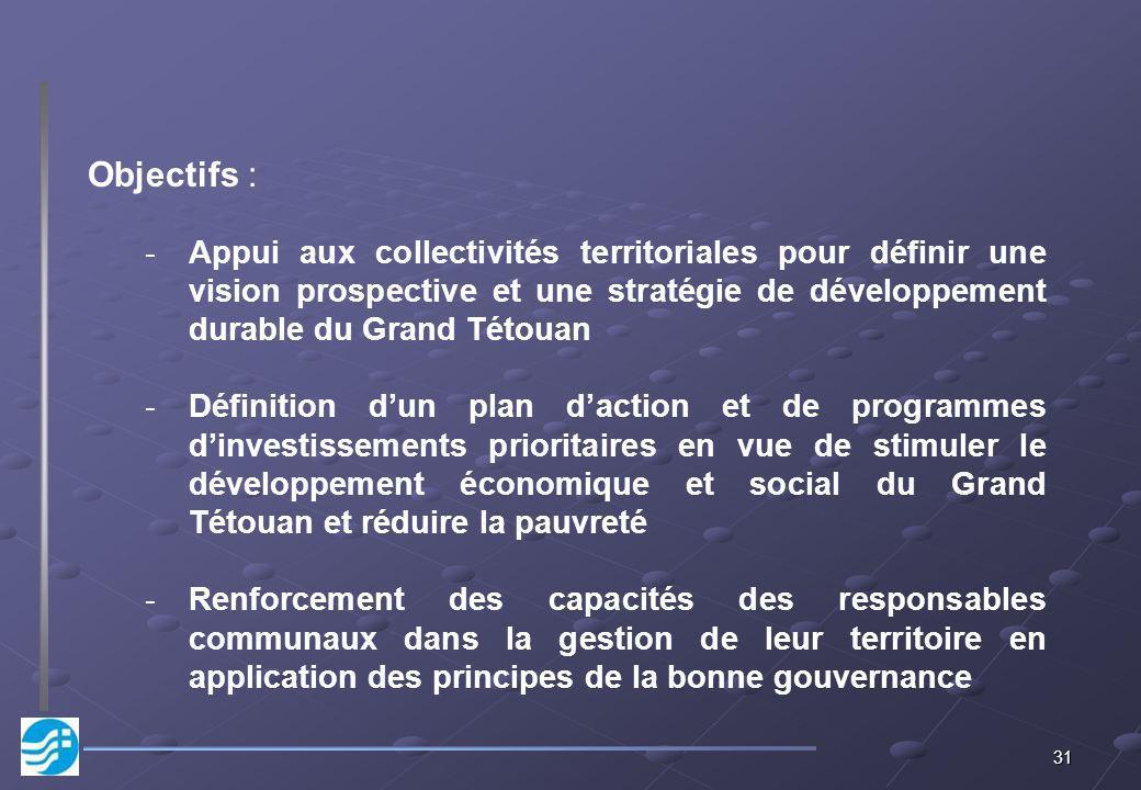 31 Objectifs : -Appui aux collectivités territoriales pour définir une vision prospective et une stratégie de développement durable du Grand Tétouan -