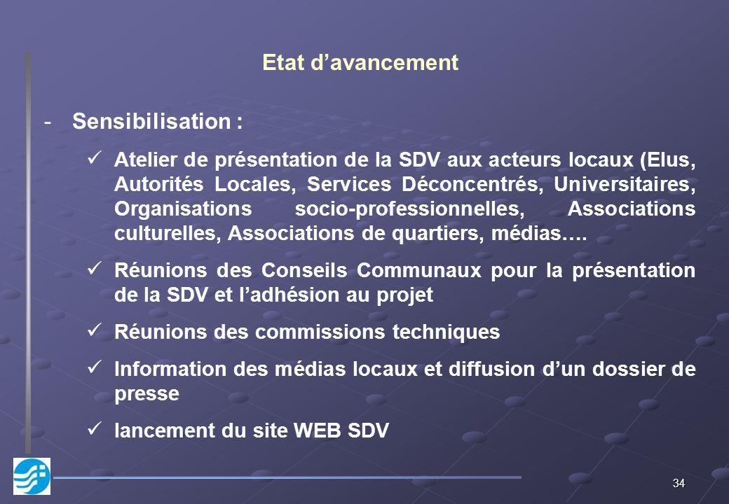 34 Etat davancement -Sensibilisation : Atelier de présentation de la SDV aux acteurs locaux (Elus, Autorités Locales, Services Déconcentrés, Universit