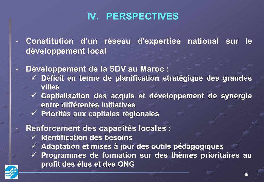 39 IV.PERSPECTIVES -Constitution dun réseau dexpertise national sur le développement local -Développement de la SDV au Maroc : Déficit en terme de pla