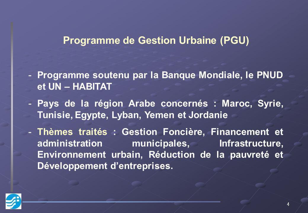 4 Programme de Gestion Urbaine (PGU) -Programme soutenu par la Banque Mondiale, le PNUD et UN – HABITAT -Pays de la région Arabe concernés : Maroc, Sy