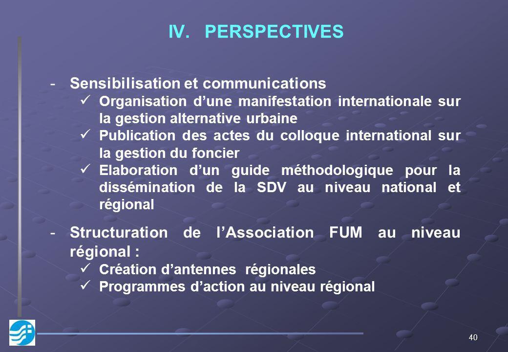 40 IV.PERSPECTIVES -Sensibilisation et communications Organisation dune manifestation internationale sur la gestion alternative urbaine Publication de