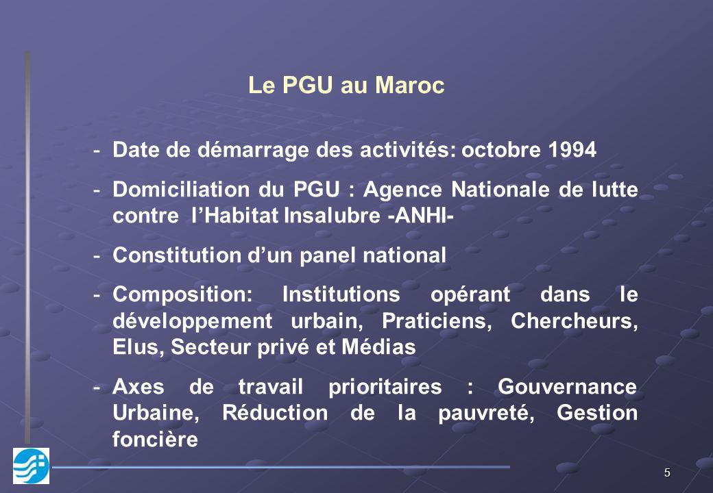 5 -Date de démarrage des activités: octobre 1994 -Domiciliation du PGU : Agence Nationale de lutte contre lHabitat Insalubre -ANHI- -Constitution dun