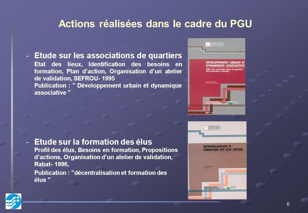 6 Actions réalisées dans le cadre du PGU -Etude sur les associations de quartiers Etat des lieux, Identification des besoins en formation, Plan dactio