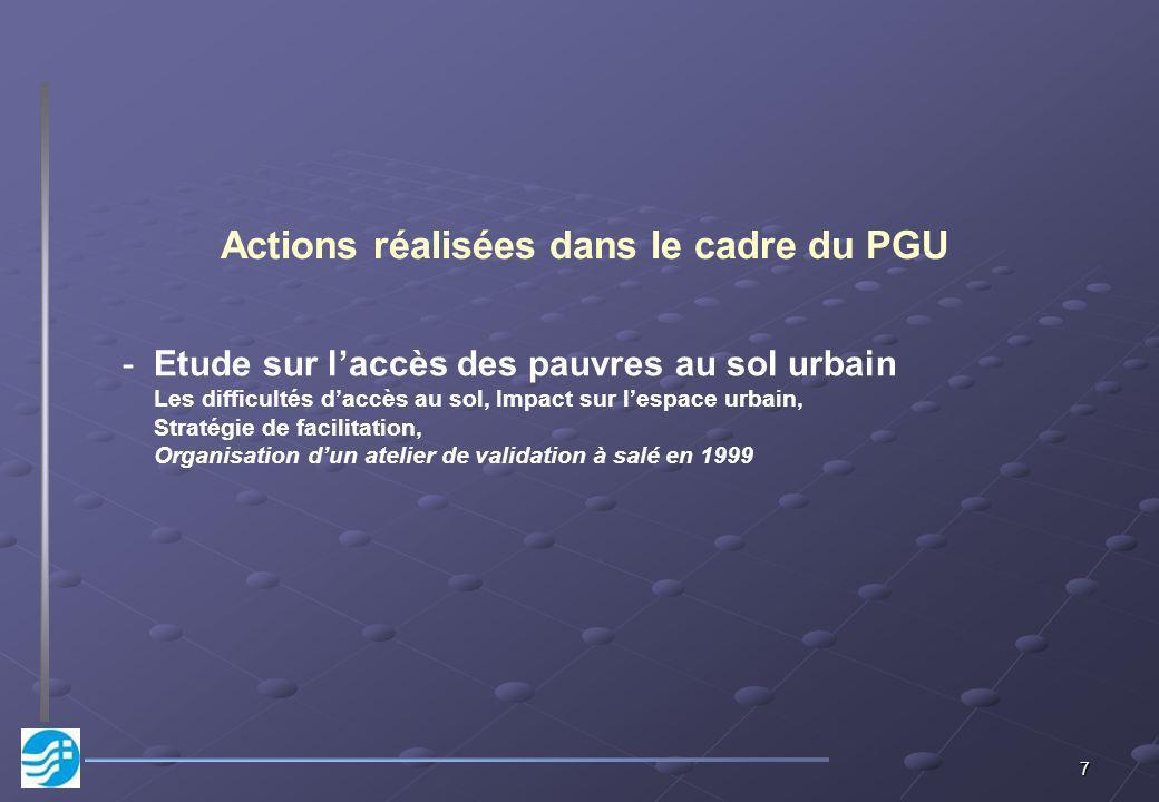 7 Actions réalisées dans le cadre du PGU -Etude sur laccès des pauvres au sol urbain Les difficultés daccès au sol, Impact sur lespace urbain, Stratégie de facilitation, Organisation dun atelier de validation à salé en 1999