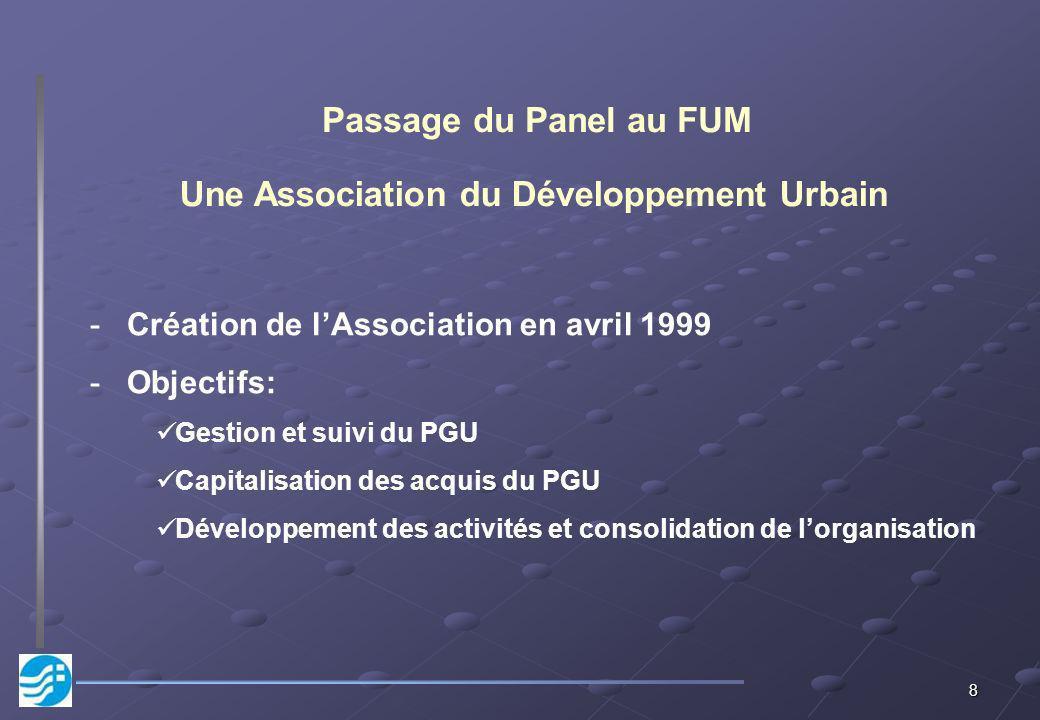 8 Une Association du Développement Urbain -Création de lAssociation en avril 1999 -Objectifs: Gestion et suivi du PGU Capitalisation des acquis du PGU Développement des activités et consolidation de lorganisation Passage du Panel au FUM
