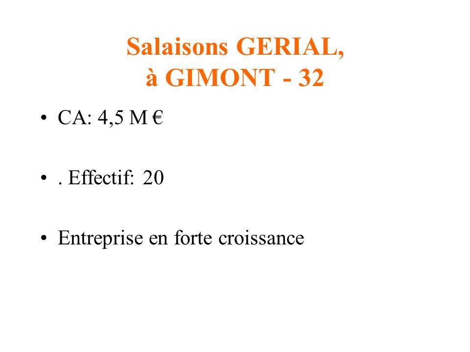 Salaisons GERIAL, à GIMONT - 32 CA: 4,5 M. Effectif: 20 Entreprise en forte croissance