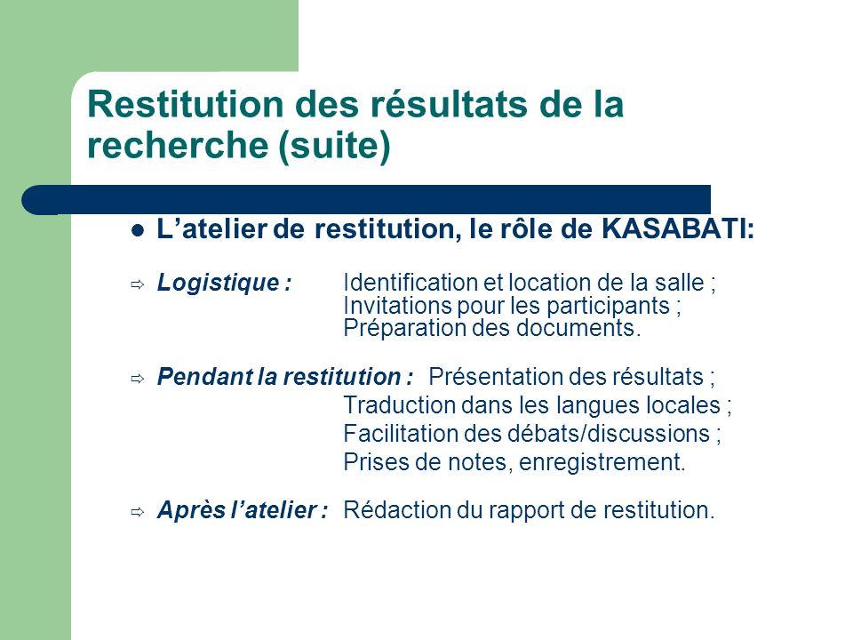 Restitution des résultats de la recherche (suite) Latelier de restitution, le rôle de KASABATI: Logistique : Identification et location de la salle ; Invitations pour les participants ; Préparation des documents.