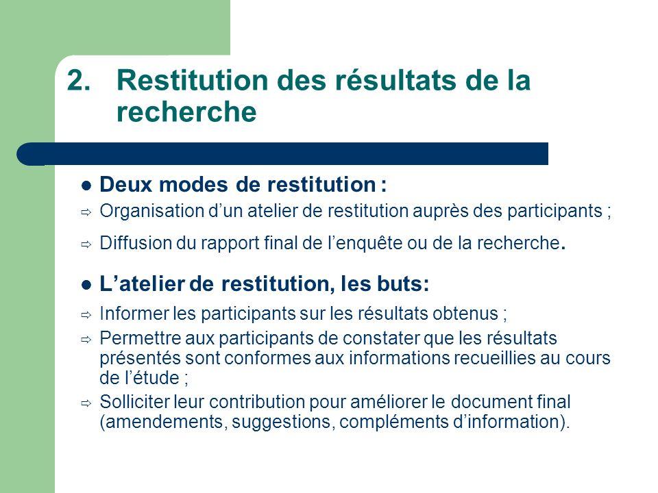 2.Restitution des résultats de la recherche Deux modes de restitution : Organisation dun atelier de restitution auprès des participants ; Diffusion du rapport final de lenquête ou de la recherche.