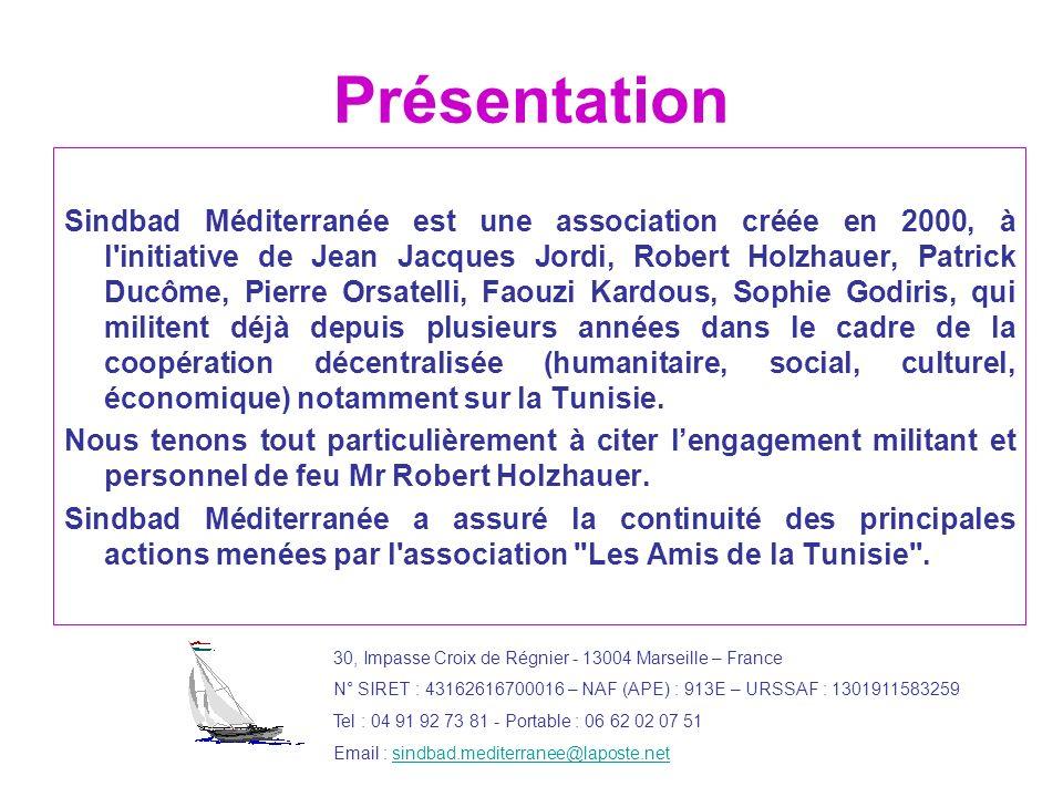 Présentation Sindbad Méditerranée est une association créée en 2000, à l'initiative de Jean Jacques Jordi, Robert Holzhauer, Patrick Ducôme, Pierre Or