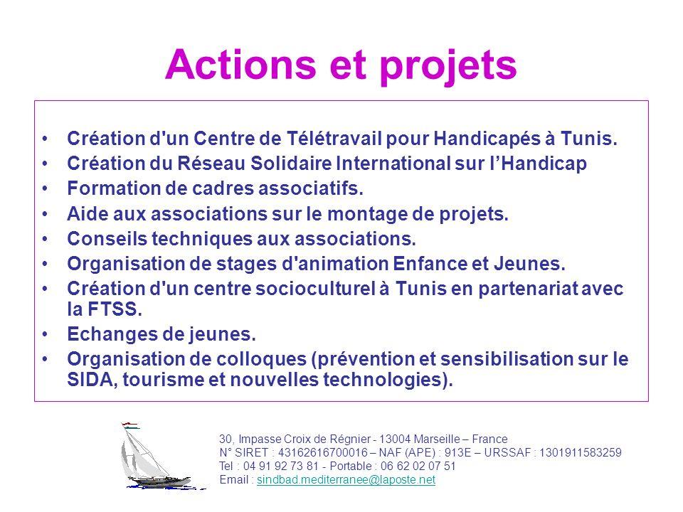 Actions et projets Création d'un Centre de Télétravail pour Handicapés à Tunis. Création du Réseau Solidaire International sur lHandicap Formation de