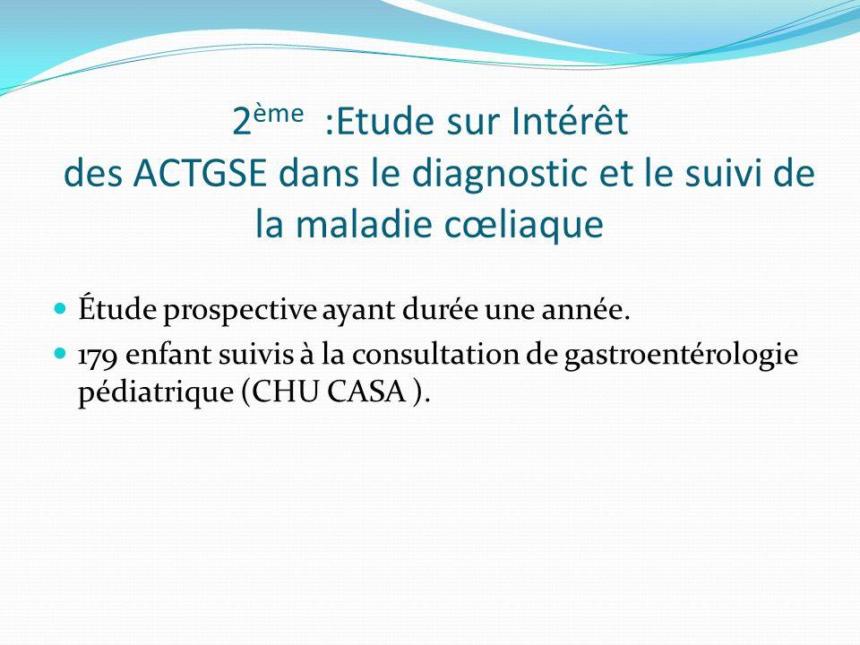 2 ème :Etude sur Intérêt des ACTGSE dans le diagnostic et le suivi de la maladie cœliaque Étude prospective ayant durée une année. 179 enfant suivis à