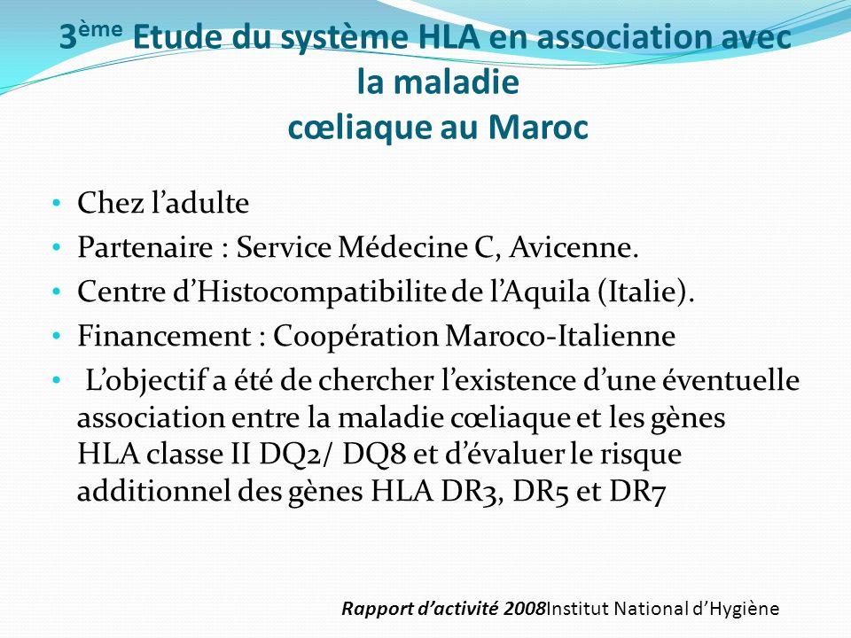 3 ème Etude du système HLA en association avec la maladie cœliaque au Maroc Chez ladulte Partenaire : Service Médecine C, Avicenne. Centre dHistocompa