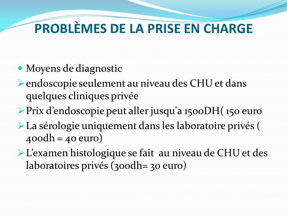PROBLÈMES DE LA PRISE EN CHARGE Moyens de diagnostic endoscopie seulement au niveau des CHU et dans quelques cliniques privée Prix dendoscopie peut al
