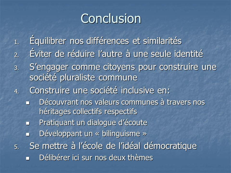 Conclusion 1. Équilibrer nos différences et similarités 2. Éviter de réduire lautre à une seule identité 3. Sengager comme citoyens pour construire un