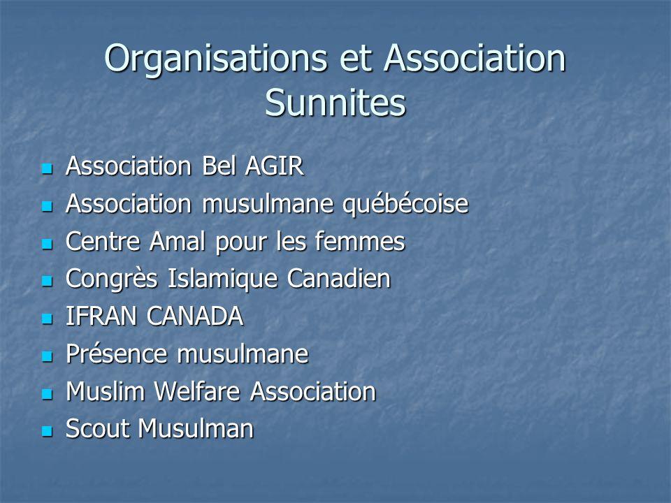 Organisations et Association Sunnites Association Bel AGIR Association Bel AGIR Association musulmane québécoise Association musulmane québécoise Cent