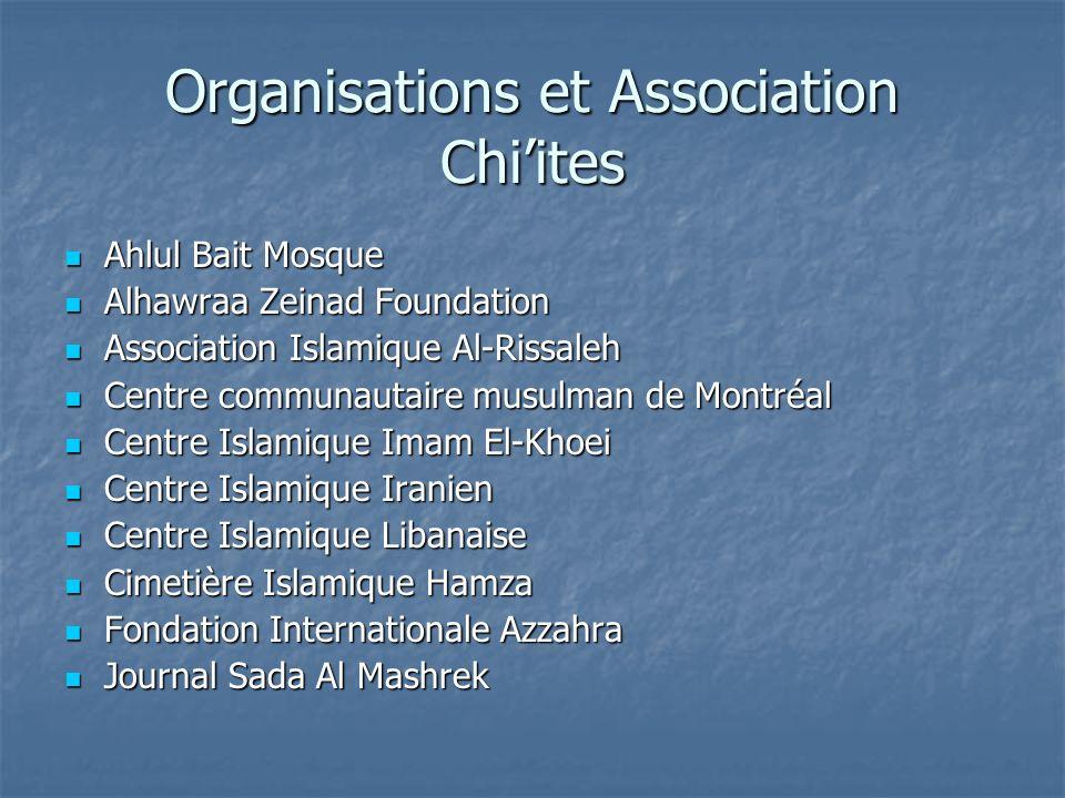 Organisations et Association Chiites Ahlul Bait Mosque Ahlul Bait Mosque Alhawraa Zeinad Foundation Alhawraa Zeinad Foundation Association Islamique A