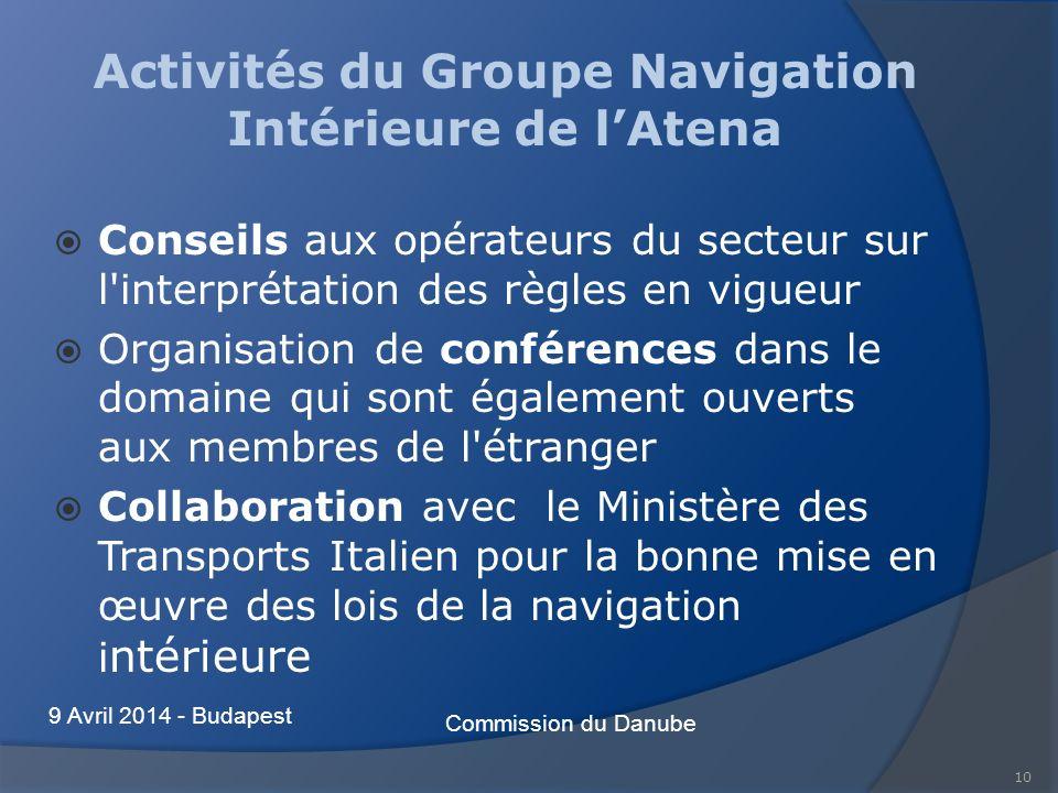 10 Activités du Groupe Navigation Intérieure de lAtena Conseils aux opérateurs du secteur sur l'interprétation des règles en vigueur Organisation de c