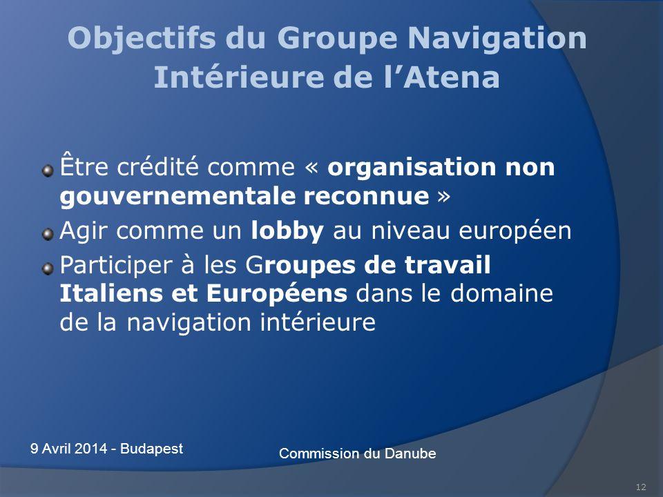 12 Objectifs du Groupe Navigation Intérieure de lAtena Être crédité comme « organisation non gouvernementale reconnue » Agir comme un lobby au niveau européen Participer à les Groupes de travail Italiens et Européens dans le domaine de la navigation intérieure Commission du Danube 9 Avril 2014 - Budapest