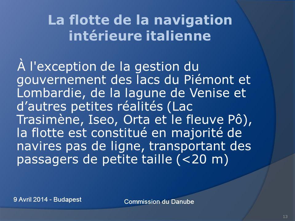 13 La flotte de la navigation intérieure italienne À l'exception de la gestion du gouvernement des lacs du Piémont et Lombardie, de la lagune de Venis