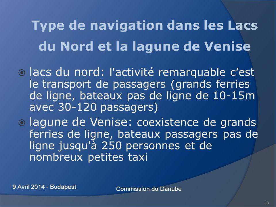 Type de navigation dans les Lacs du Nord et la lagune de Venise lacs du nord: l'activité remarquable cest le transport de passagers (grands ferries de
