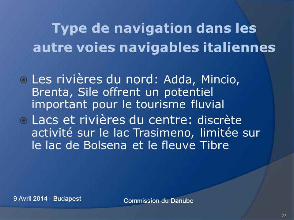Type de navigation dans les autre voies navigables italiennes Les rivières du nord: Adda, Mincio, Brenta, Sile offrent un potentiel important pour le