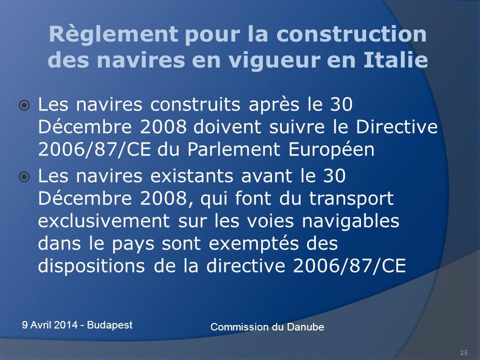 25 Règlement pour la construction des navires en vigueur en Italie Les navires construits après le 30 Décembre 2008 doivent suivre le Directive 2006/87/CE du Parlement Européen Les navires existants avant le 30 Décembre 2008, qui font du transport exclusivement sur les voies navigables dans le pays sont exemptés des dispositions de la directive 2006/87/CE Commission du Danube 9 Avril 2014 - Budapest