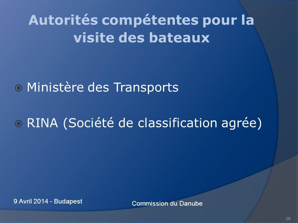 28 Autorités compétentes pour la visite des bateaux Ministère des Transports RINA (Société de classification agrée) Commission du Danube 9 Avril 2014