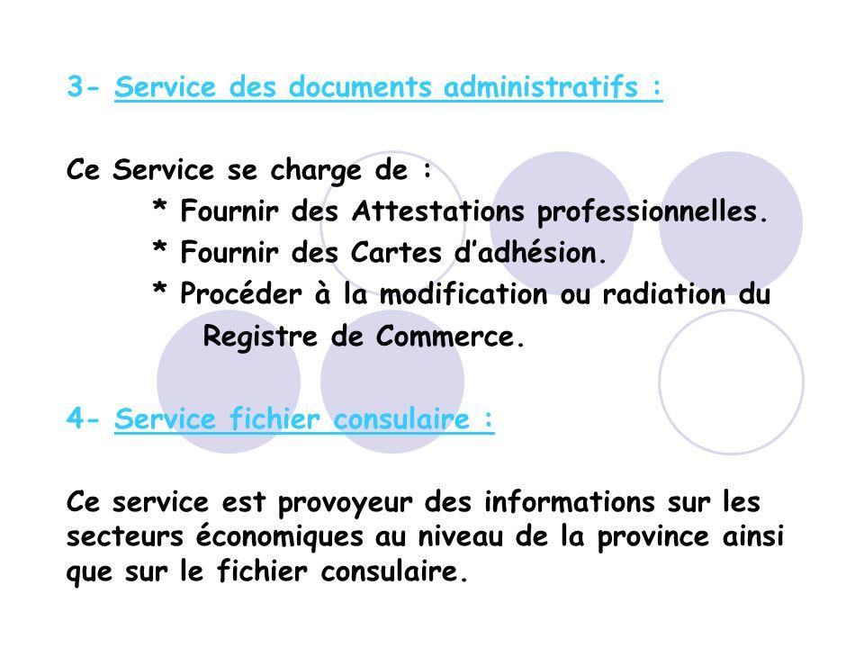3- Service des documents administratifs : Ce Service se charge de : * Fournir des Attestations professionnelles.