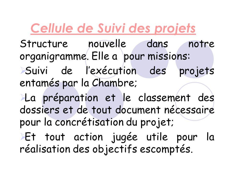 Cellule de Suivi des projets Structure nouvelle dans notre organigramme.