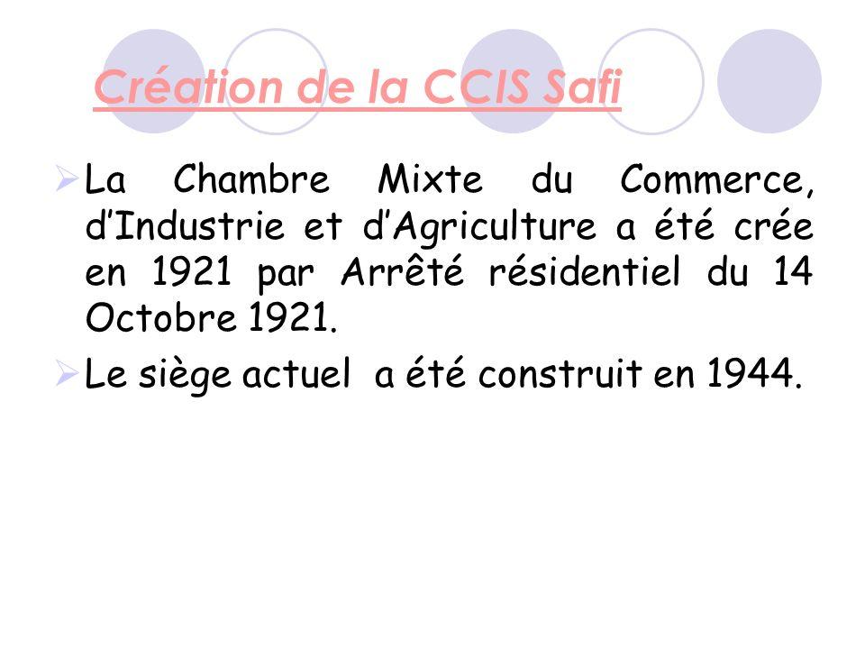 Création de la CCIS Safi La Chambre Mixte du Commerce, dIndustrie et dAgriculture a été crée en 1921 par Arrêté résidentiel du 14 Octobre 1921.