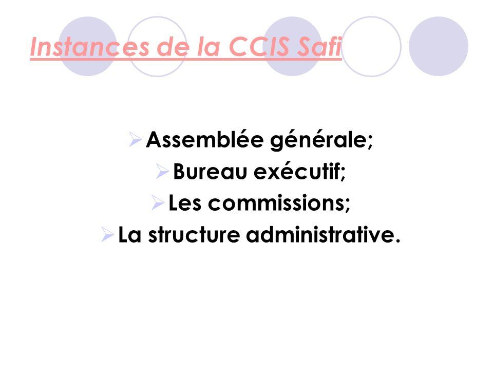 Instances de la CCIS Safi Assemblée générale; Bureau exécutif; Les commissions; La structure administrative.