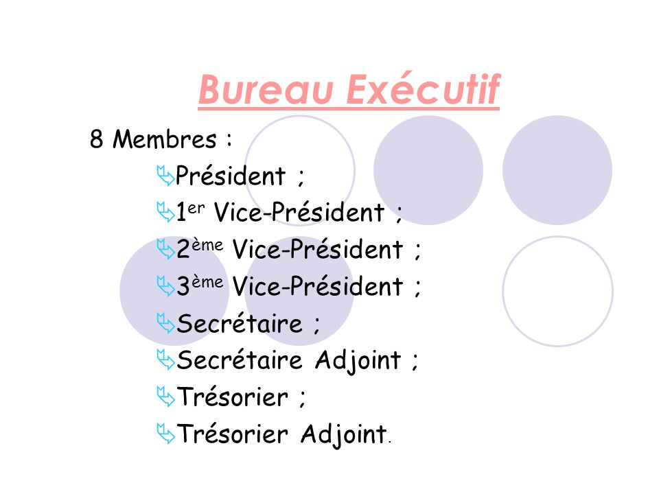 Bureau Exécutif 8 Membres : Président ; 1 er Vice-Président ; 2 ème Vice-Président ; 3 ème Vice-Président ; Secrétaire ; Secrétaire Adjoint ; Trésorier ; Trésorier Adjoint.